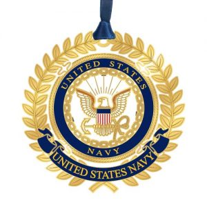 gold US Navy ornament