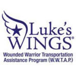 luke's wings logo for blog with blue text and wing