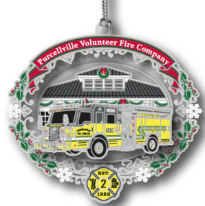 PVFC 2018 fire truck in yellow with the stations background