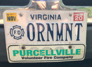 Scott's ornament license plate with the purcellville name on it