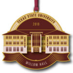 red and yellow university ornament