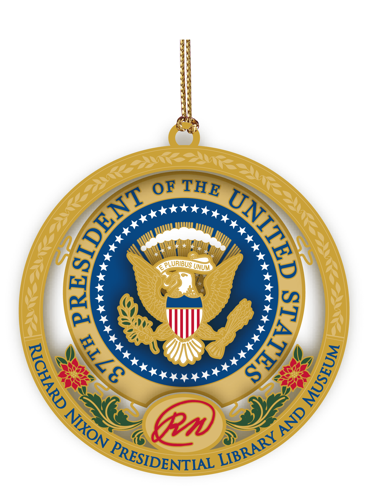 red, blue and gold presidential ornament