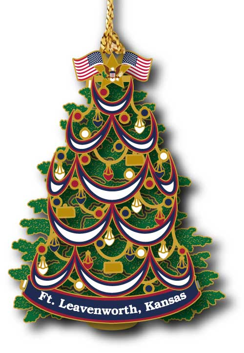 Christmas tree with American flags at top