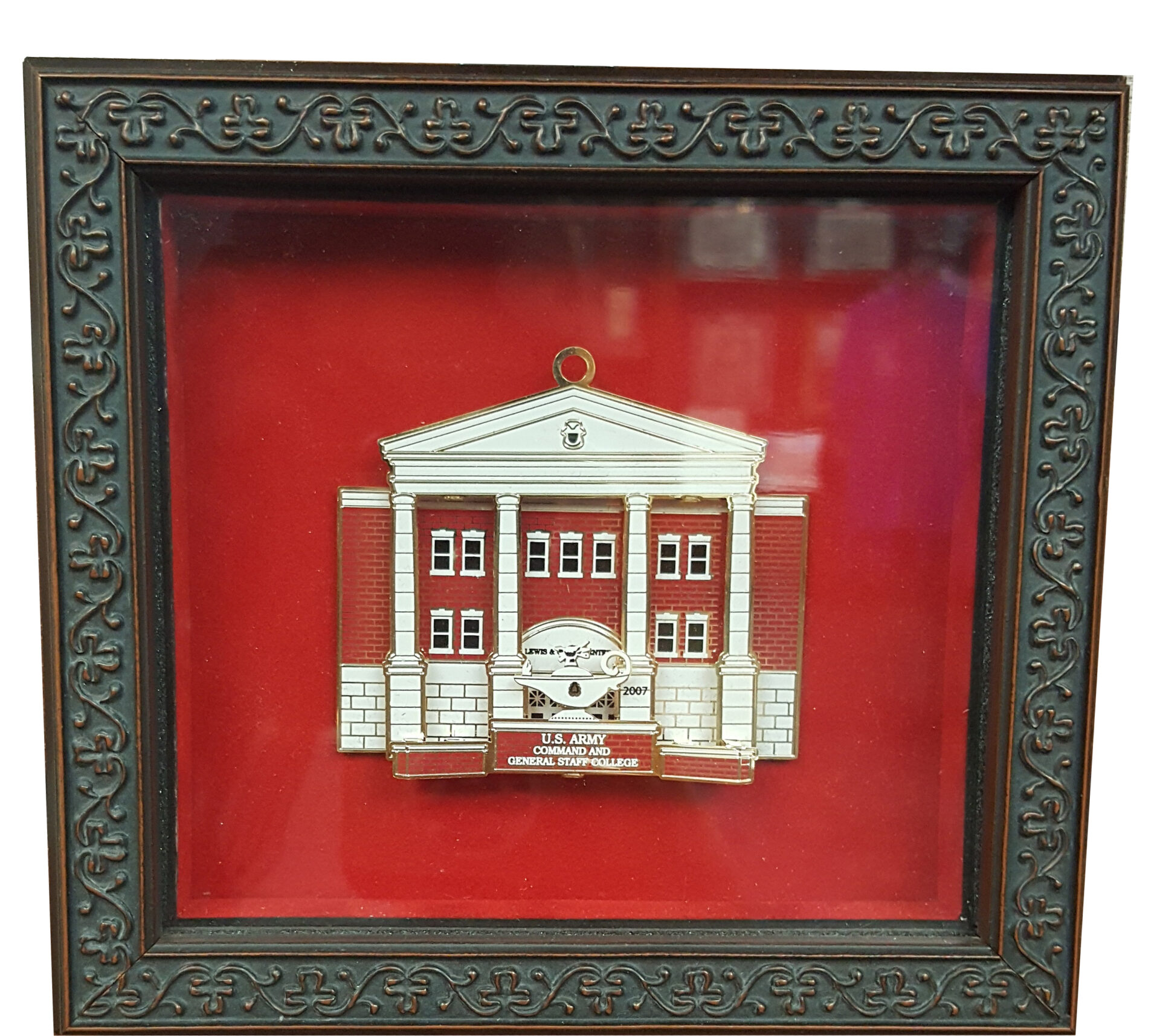 brown frame with red matting