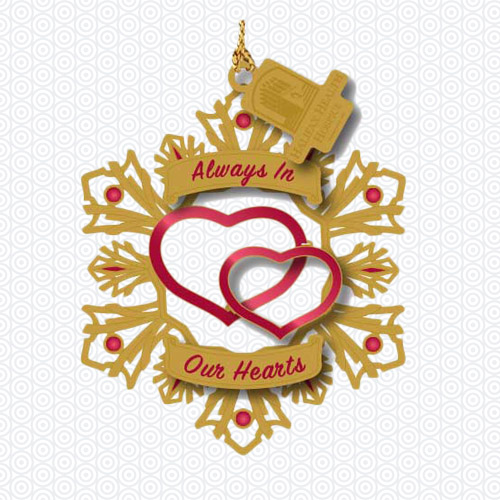 Always In Our Hearts Brass Ornament