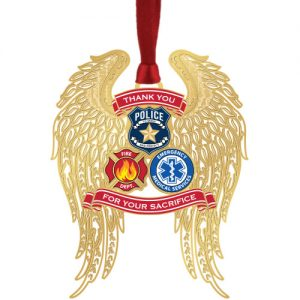 First Responders Angel Wings Brass Ornament