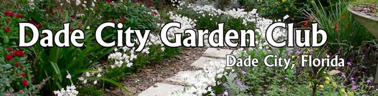 Garden club banner with walkway and flowers