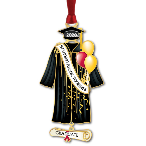 black graduation cap and gown with balloons and sash
