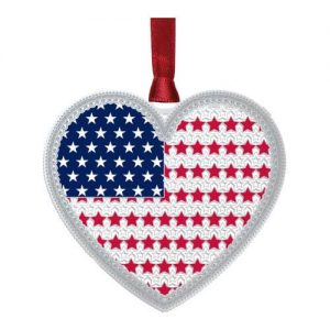Silver Heart Ornament with American Flag