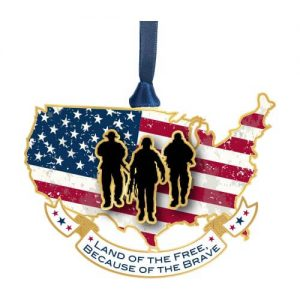 soldiers on American flag ornament