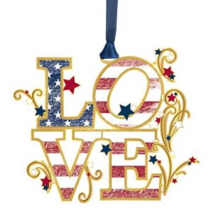 love ornament with American flag