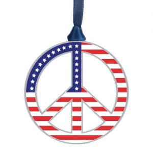 silver peace symbol with American flag