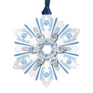 jeweled silver and blue snowflake ornament