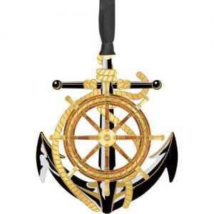 anchor with wheel ornament