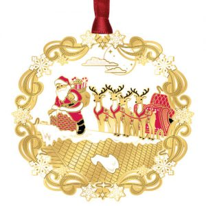 Brass Etched Santa on Roof Christmas Ornament