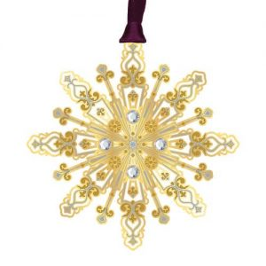 gold and blue snowflake ornament
