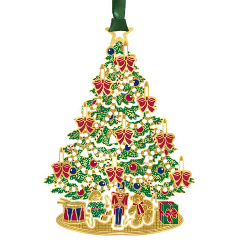 Decorated Christmas Tree with Presents Ornament