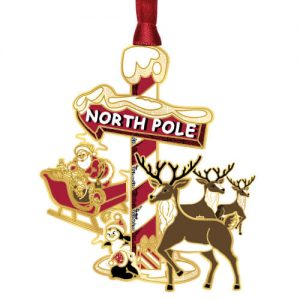 north pole sign and reindeer ornament