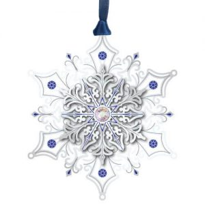 silver with crystals snowflake ornament