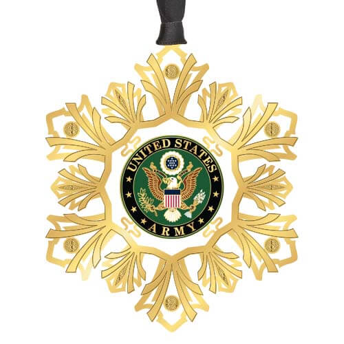 United States Army Gold Snowflake Ornament