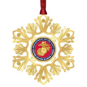 gold and red US Marines Snowflake ornament