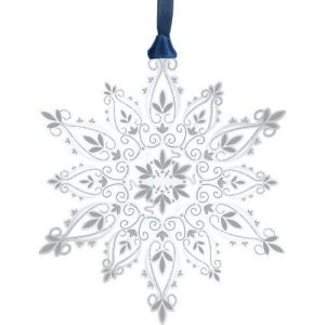 Silver Etched Wonderous Snowflake Ornament