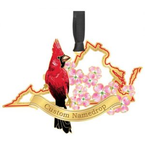red bird with pink flowers