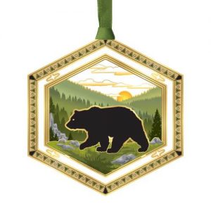 Black Bear in Woods Metal Etched Ornament