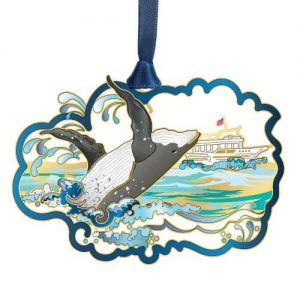 whale breaching out of water ornament
