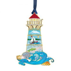 lighthouse with wave and boat ornament