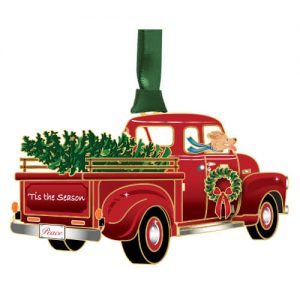 holiday red pickup truck ornament