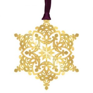 Metal Etched 3D Gold Snowflake Ornament