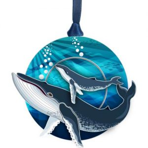 whale with baby in water ornament
