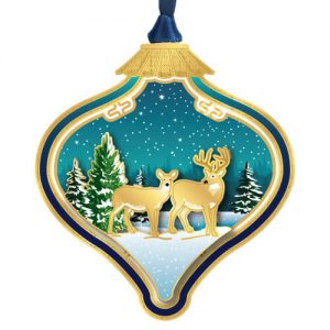 deer in bulb holiday ornament