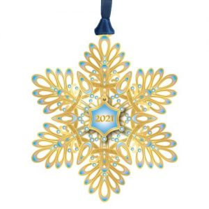 blue and gold snowflake ornament