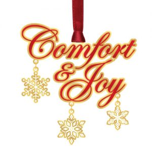 gold comfort and joy christmas ornament