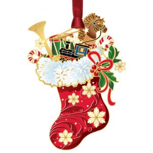 red christmas stocking with toys ornament