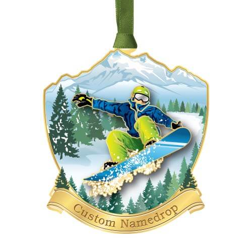 snowboarder on mountain ornament