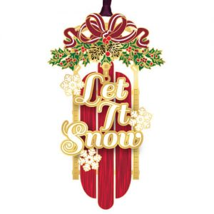 red holiday sled christmas ornament