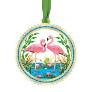 two pink flamingos ornament