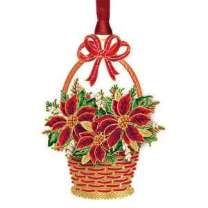 poinsettia's in a basket ornament